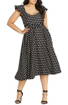 Main Image - City Chic Flutter Spot Belted Dress (Plus Size)