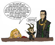 Thor is an annoying big brother... sooooo cute. But I wish the artist had spelled mere correctly.