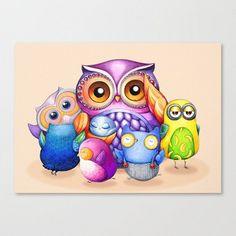 Funny Owl Bunch  Blank Card  Gift Idea for Teachers by AnnyaKaiArt, $3.95