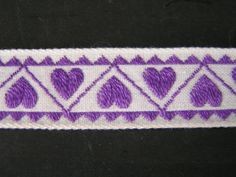Purple Lavender Hearts Jacquard on White by LuciesLuvlies on Etsy