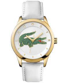 Lacoste Women's Victoria White Leather Strap Watch 40mm 2000894 - Women's Watches - Jewelry & Watches - Macy's