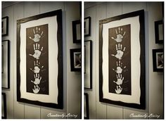 Family Hand Prints - Can also do with baby's hand & foot print and birth info