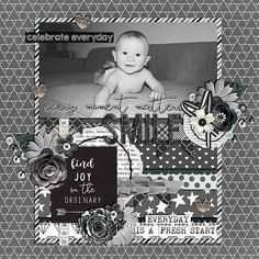 Layout of the Day, 12 July 2016 - Gotta Pixel created with Essential Stuff:  Monochrome by Pixelily Designs