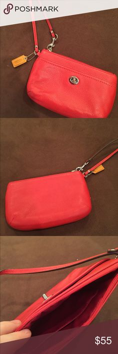 Coach Wristlet - Red Leather Authentic Coach Red Leather Wristlet - new without tags, never used. Coach Bags Clutches & Wristlets