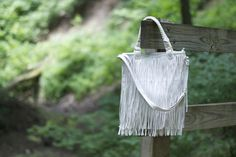 Deb Shops white fringe bag