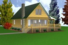 Country classic cabin w loft 24x40 plans package for Easy cabin designs