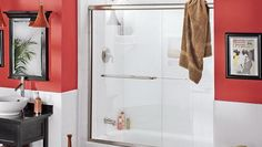 Cleaning Glass Shower Door With Red Walls ~ http://lanewstalk.com/cleaning-glass-shower-door-using-lemon-oil/