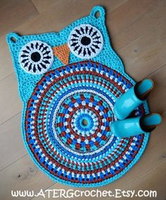 OWL RUG 'turquoise' by ATERGcrochet ready to ship by ATERGcrochet, €70.00