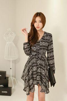 Pattern Button Chiffon Dress