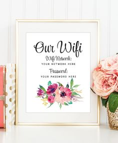 WiFi Password Print, Wifi Password Printable, Internet Password Print, Guest Room Art, Entrway Wall Art, Peony Wall Art, Floral Printable by DuneStudio on Etsy