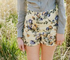 Flower print linen shorts - lemonade yellow high waisted vintage inspired, personalized custom sizing eco friendly made in america - large on Etsy, $65.00