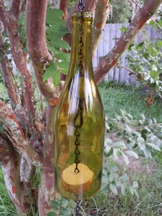 Gold Wine Bottle Wind Chime - All Natural- Recycled
