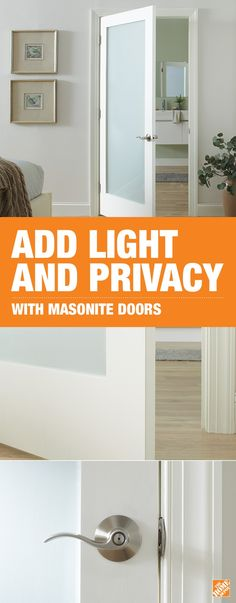 Easily update any room with Masonite's privacy door. Opaque glass allows light in while maintaining privacy. Add a Schlage Accent Satin-Nickel Lever to complete the trending look.