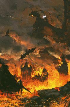 Forever burning neck ( Berserk ) by AnatoFinnstark on DeviantArt Fantasy Places, Fantasy World, Dark Fantasy, Fantasy Art, Cool Sketches, Fan Art, Fantasy Landscape, Dark Souls, Sci Fi Art