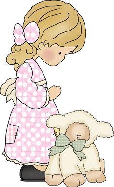 Dibujos. Clipart. Digi stamps - Girl with lamb - Niña Comunión