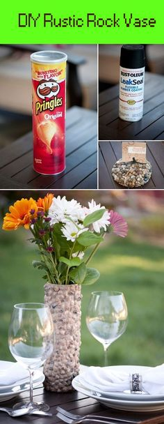 DIY Rustic Rock Vase – this would be a great craft to make with kids |
