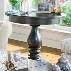 $530 free shipping Paula Deen Home Round Wood Pedestal Side Table - Tobacco | www.coffeetablesgalore.com