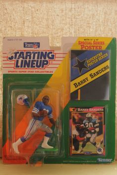 2758e6e7 Vintage Starting Lineup Barry Sanders NFL Collectible Figurine, Poster,  Football Card & Helmet Set New In Package