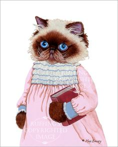 Himalayan Kitty Kitten Cat in Pink Dress Cute by ruffings on Etsy