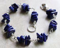Lapis Lazuli Bracelet, Gemstone Bracelet, Sterling Silver Bracelet, Lapis Bead Bracelet, Blue Bead Bracelet, Blue Boho Stacking Bracelet