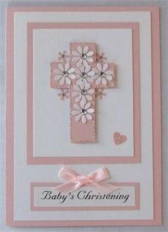 Handmade Christening Card with a cross
