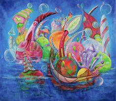 Feel the world | Acrílico sobre lienzo | Acrylic on canvas by Pili Tejedo 150 x 130 cm