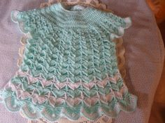 Baby crochet dress mint baby dress toddlers by MaddisonsRainbow Toddler Dress, Baby Dress, Hand Crochet, Crochet Baby, 4 Ply Yarn, Handmade Crafts, Dress Making, Baby Shower Gifts, Toddlers