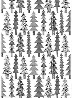 Marimekko Kuusikossa White/Black Fabric A variety of evergreen trees with mismatched patterns lend a cozy, quilt-like vibe to the Marimekko Kuusikossa (Spruce) White/Black Fabric. Designed by Maija Louekari, this pattern was inspired by the . Graphic Patterns, Textile Patterns, Color Patterns, Print Patterns, Textiles, Tree Patterns, Diy Inspiration, Christmas Inspiration, Fabric Design