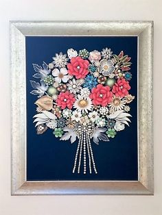 Vintage & Costume Jewelry Framed Flower Bouquet Art
