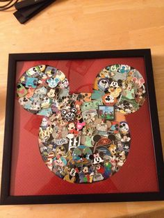 Our Disney pins that we collected during pun trading. Collage of pins!