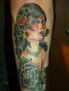 My Gypsy tattoo Gypsy Tattoos, Body Is A Temple, I Tattoo, Watercolor Tattoo, School, Face, The Face, Faces, Temp Tattoo