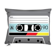 Audiotape Pillow 20x14 Black, $45, now featured on Fab.