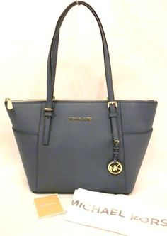 6a845334af14 Michael Kors Jet Set Top Zip Cornflower Leather Tote Bag/purse 30f2gttt8l  for sale online | eBay