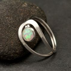 {FAVORITE!!}Opal Ring- Silver Opal Ring- Gemstone Ring- Sterling Silver Stone Ring- handmade sterling silver jewelry: sizes 4 -10. $48.00, via Etsy.