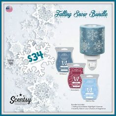 SCENTSY FALLING SNOW NIGHTLIGHT BUNDLE: Combine & Save - Scentsy System = $20 Nightlight warmer + 3 Scent Bars.