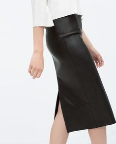 ZARA - COLLECTION SS15 - FAUX LEATHER MIDI PENCIL SKIRT
