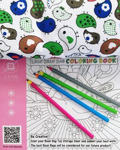 Get Creative with the Lean Bean Bag Coloring Book. Stuffed Animals Storage