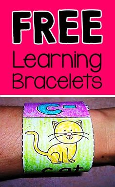 FREE wearable bracelets for word work including beginning sounds, blends and digraphs,& word families.