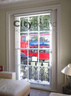 Secondary glazing fitted to a large sash window (Chepstow Road, London, W2) www.citysoundglazing.co.uk