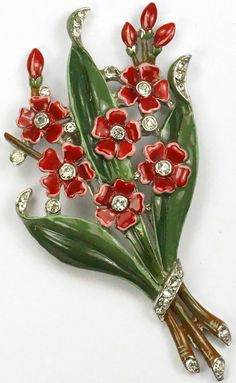 Trifari 'Alfred Philippe' Pave and Enamel Red Floral Spray Bouquet Pin Clip