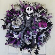 Purple Deluxe Jack Skellington Nightmare Before Christmas Halloween Wreath from Pretty Things for $25.00