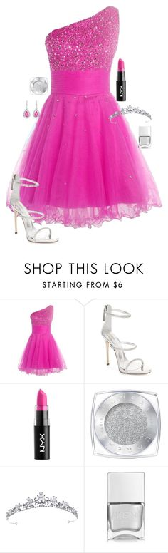 """Pink Diamond Prom"" by adventuretimekitty ❤ liked on Polyvore featuring Giuseppe Zanotti, NYX, L'Oréal Paris, Nails Inc., Pink and diamond"