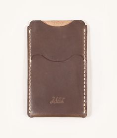 """DARK STEEL HORWEEN CHROMEXCEL LEATHER MADE IN USA — 5.75"""" X 3.5"""" X .25""""  Hand cut and sewn with painted edges."""