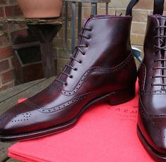 A very cool oxblood wingtip dress boot. An instant classic. lmr