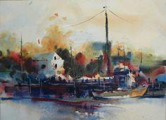 "Contemporary Painting - ""San Pedeo Pier"" (Original Art from Fealing Lin Watercolors)"