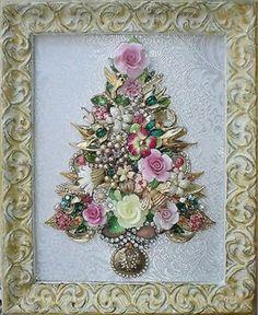 GLENDA'S CUSTOM ORDER~ Framed Vintage Jewelry Christmas Tree ...