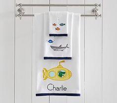 Submarine Bath Collection, Hand Towel, Navy Little Boy Bathroom, Beach Kids, Terry Towel, Nautical Fashion, Pottery Barn Kids, Bath Time, Bath Towels, Navy, Collection