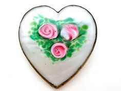 Vintage Heart Brooch Italian Venetian Glass White & Pink Rose Token of Love Pin in Jewelry & Watches, Vintage & Antique Jewelry, Costume, Retro, Vintage 1930s-1980s, Cameos | eBay