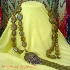 Olive Green Long Strand Beads And Tassel Leaf Necklace Handmade ON SALE