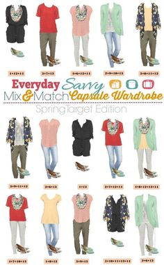 Spring Capsule Wardrobe from Target - Mix and Match Outfits that are fun and frugal! This post is now updated with new outfits for 2016!